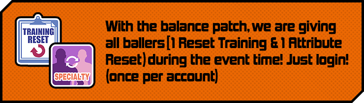 With the balance patch, we are giving all ballers[ 1 Reset Training & 1 Attribute Reset) during the event time! Just login! (once per account)